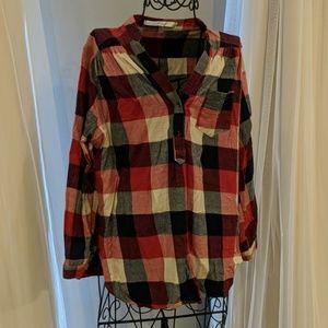V-neck flannel